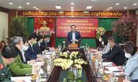 Bí thư Thành ủy Hà Nội Vương Đình Huệ tại cuộc làm việc với quận Hoàng Mai