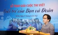Phó Tổng Biên tập Báo Tiền Phong Lê Minh Toản phát biểu tại lễ trao giải. Ảnh: Như Ý