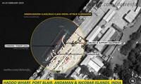 Hình ảnh vệ tinh cho thấy tàu ngầm Ấn Độ neo đậu ở Port Blair, thuộc quần đảo Andaman-Nicobar