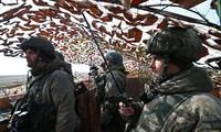 Các binh sĩ tại một cứ điểm chỉ huy trong cuộc tập trận của quân đội Nga ở Crimea, ngày 19 tháng 3 năm 2021.