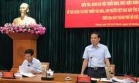Ủy viên Trung ương Đảng, Phó Bí thư Thường trực Thành ủy TP HCM Trần Lưu Quang phát biểu tại buổi làm việc
