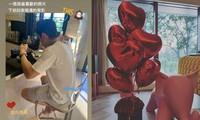 Trần Kiều Ân khoe quà mà bạn trai tặng. Cô hạnh phúc trải qua ngày lễ Tình nhân Trung Quốc đầu tiên với Tăng Vỹ Xương.