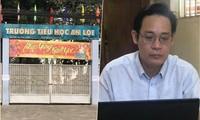 Thầy Sơn (ảnh nhỏ) đã viết đơn đề nghị cho thôi việc tại trường Tiểu học An Lợi, Long Thành, Đồng Nai
