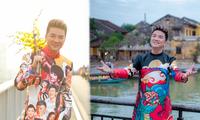 Đàm Vĩnh Hưng diện áo dài có hình Hoài Linh, Lệ Quyên hát đón Tết