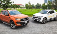 Ford Ranger và Chevrolet Colorado - Hai mẫu xe bán tải bán chạy. Ảnh: Báo Giao Thông
