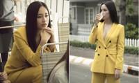 Hoa hậu Mai Phương Thuý mặc vest vàng rực, khoe khéo vòng một nóng bỏng