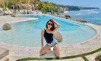 Thuý Ngân hiếm hoi diện bikini, khoe vòng eo 'con kiến' nóng bỏng ở Bali