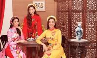 Khánh Vân, Kim Duyên, Thuý Vân diện áo dài 'đám cưới chuột' trong bộ ảnh Tết