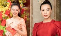Khánh Vân khoe vai trần gợi cảm, Á hậu Kim Duyên mặc áo dài đỏ rực đầu năm mới