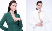 MC Thanh Mai mặc áo vest cá tính, hờ hững vòng 1 gợi cảm ở tuổi 47