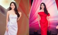 Hoa hậu Tiểu Vy diện váy cúp ngực khoe vai trần gợi cảm ngồi ghế giám khảo