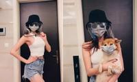 Hoa hậu Khánh Vân đeo mặt nạ cực 'độc' chống Covid, cho cún cưng đeo khẩu trang