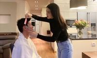 Diễm Trang trổ tài cắt tóc cho ông xã.