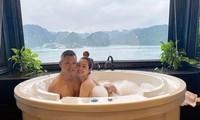 Jennifer Phạm tình tứ cùng ông xã trong bồn tắm khi đi nghỉ dưỡng ở Hạ Long