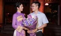 Chồng chưa cưới hiếm hoi lộ diện, tháp tùng Hoa hậu Ngọc Hân đi diễn áo dài