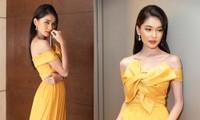 Á hậu Thuỳ Dung khoe vai trần gợi cảm khi đi làm MC vào đúng ngày sinh nhật