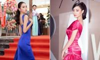 Tiểu Vy, Lương Thuỳ Linh diện váy cắt xẻ táo bạo khoe đường cong đẹp mắt