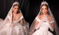 Hoa hậu Tiểu Vy mặc váy cô dâu khoe thềm ngực quyến rũ