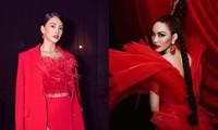 Hoa hậu Tiểu Vy - Lan Khuê 'đọ sắc' với gam màu đỏ quyền lực, khoe nhan sắc 'vạn người mê'