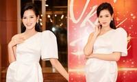 Hoa hậu Đỗ Thị Hà diện đầm lệch vai quyến rũ ngọt ngào