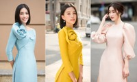 Tiểu Vy, Đỗ Mỹ Linh đọ nhan sắc ngày càng 'thăng hạng' khi diện áo dài Tết trên phố