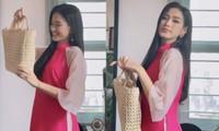 Xách chiếc làn cói 'huyền thoại' hóa thành cô bán chè, Hoa hậu Đỗ Thị Hà vẫn ra dáng mỹ nhân