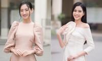 Đọ sắc với áo dài Tết, Hoa hậu Đỗ Thị Hà và Lương Thùy Linh đẹp 'một chín một mười'