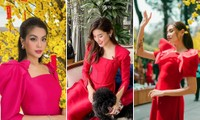 Dàn Hoa, Á hậu đẹp 'một chín một mười' khi cùng diện áo dài đỏ rực rỡ ngày mùng 1 Tết