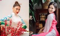 Cùng diện áo dài Tết, Đỗ Thị Hà đẹp nền nã, Á hậu Ngọc Thảo lại sắc sảo tựa mỹ nhân cổ trang