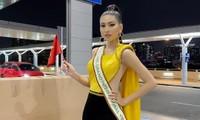Mặc màu vàng 'phong thuỷ' ra sân bay sang Thái Lan, Á hậu Ngọc Thảo gây 'bão like' trên trang chủ Miss Grand