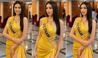 Ngọc Thảo mặc màu vàng 'phong thuỷ' cực lộng lẫy bước vào vòng phỏng vấn ở Miss Grand