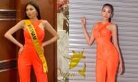 Sau 3 lần 'đụng hàng' Hương Giang, Ngọc Thảo mặc lại jumpsuit của Hoàng Thùy ở Miss Grand