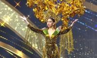 Ngọc Thảo mặc 'Lá ngọc cành vàng' nặng 30 kg, toả sáng trên sân khấu Miss Grand