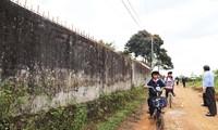 Nhiều vết nứt trên tường rào trường Tiểu học Nguyễn Công Trứ.