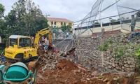 Hiện trường vụ sạt lở tại nơi làm việc của CSGT Công an tỉnh Đắk Nông bị sạt lở khiến 1 người tử vong