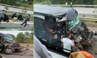 Nóng: Xe Limousine tông đuôi ô tô đầu kéo trên cao tốc, 8 người bị thương