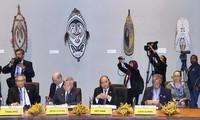 Thủ tướng Nguyễn Xuân Phúc tại cuộc Đối thoại giữa các Nhà lãnh đạo APEC với Lãnh đạo các Quốc đảo Thái Bình Dương. (Ảnh: Thống Nhất/TTXVN)