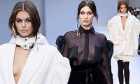 Con gái siêu mẫu của Cindy Crawford và Bella Hadid ngực trần catwalk