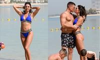 Cựu hoa hậu Anh mặc bikini nóng bỏng, hôn đắm đuối chồng ở biển