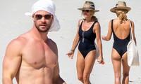 Vợ 'Thần sấm' Chris Hemsworth khoe dáng với áo tắm khi đi biển với chồng