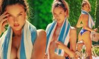 Alessandra Ambrosio dùng khăn tắm che ngực trần quyến rũ mê mẩn
