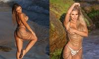 Sao truyền hình Úc Kiki Morris chụp bán nude siêu nóng bỏng ở bãi biển