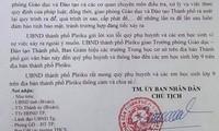 Công văn xin lỗi phụ huynh của UBND thành phố Pleiku