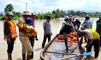 Cầu ở xã Ia Sao, thị xã Ayun Pa bị ngập nước, lực lượng chức năng hỗ trợ đưa người dân đi lại.
