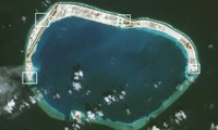Ảnh vệ tinh chụp đá Vành Khăn cho thấy các cơ sở quân sự mà Trung Quốc đã lắp đặt. Ảnh: Getty Images.