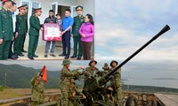Đoàn công tác trao tặng quà cho nhân dân trên đảo Trần (ảnh nhỏ) và chiến sĩ Đại đội pháo cao xạ 37, Tiểu đoàn Đảo Ngọc Vừng huấn luyện chiến đấu phòng không.