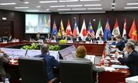 Các quan chức thương mại 11 nước thành viên CPTPP trong cuộc họp vừa qua tại Nhật Bản. Ảnh: Na Son Nguyen.