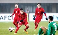 Người hùng Quang Hải ghi 2 bàn thắng vào lưới U23 Qatar. Ảnh: Nhật Minh.