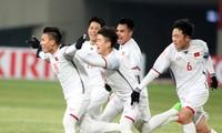 Các cầu thủ U23 Việt Nam ăn mừng bàn mở tỷ số trận đấu vào lưới U23 Hàn Quốc. Ảnh: Hữu Phạm.