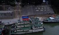 Các tàu tuần tra của Trung Quốc tại cảng Guan Lei trên sông Lan Thương – tên gọi của Trung Quốc đối với phần sông Mekong chảy qua lãnh thổ nước này. Ảnh: Chinamil